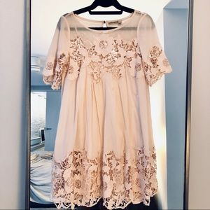Pretty lace & mesh dress, includes matching slip